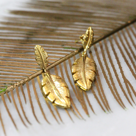 Alexis Dove palm leaf statement earrings for ss18