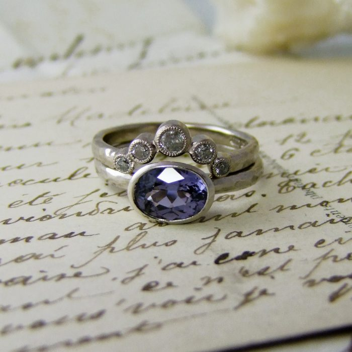Grey Diamond Tiara Ring Sapphire Engagement Ring